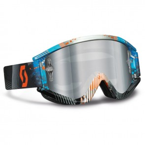 Μάσκα MX Scott Recoil Xi Pro Tanget BL/OR Silver Chrome Lens